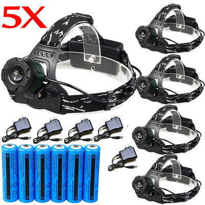 90000LM Zoomable Headlamp T6 LED Headlight Flashlight 18650 Battery&Charger USA
