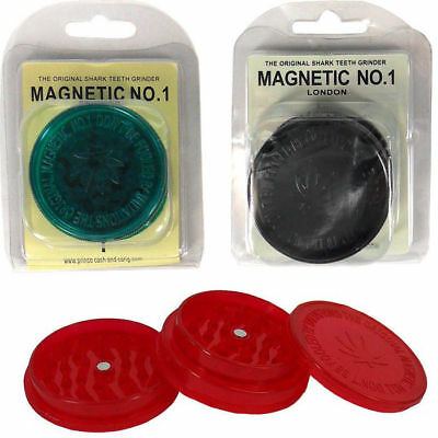 3 Part No 1 Herb Grinder Shark Teeth Tooth Magnetic Leaf Plastic Tobacco Crusher