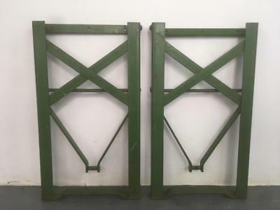 Set Of Vintage Wooden Beer Biergarten Garden Bench Spare Green Metal Legs #