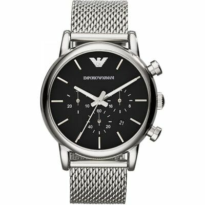 Emporio Armani Mens AR1811 Silver Mesh Stainless Steel Chronograph Watch