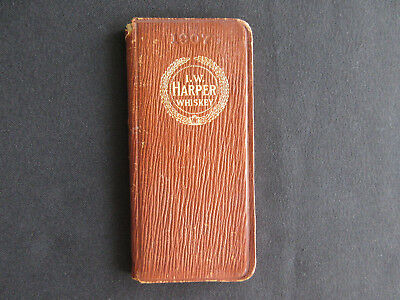 1907 Old J. W. HARPER WHISKEY Miniature Advertising Leather Booklet RARE