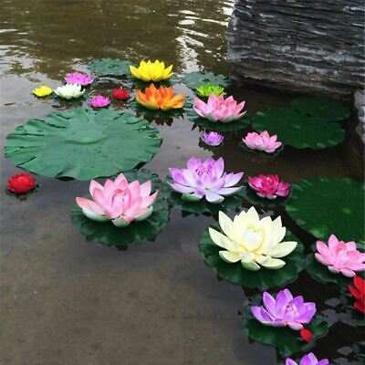 1Pcs Artificial Lotus Water Lily Floating Flower Pond Tank Plant Ornament 10cm H