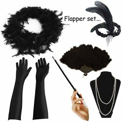 1920's Womens Flapper Charleston Accessory Black Set Gatsby Fancy Dress Costume