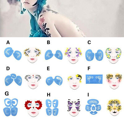 DIY Reusable Face Painting Body Art Stencil Template for Xmas Festival Makeup