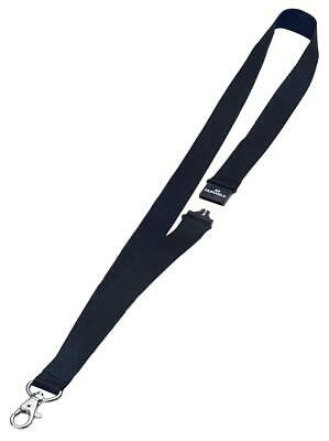 DURABLE (20mm) Textile Badge Lanyard with Safety Closure (Black) for Name Badges