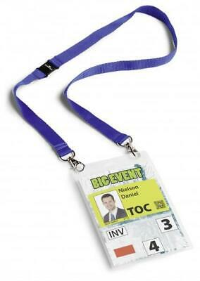 DURABLE (A6) Name Badges with Textile Badge Lanyard Duo (Blue) - Pack of 10
