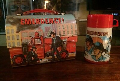 Vintage Lunchbox & Thermos Set: 1973 Emergency Domed. Very Rare & Nice!