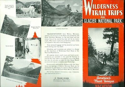 1947 Brochure Glacier National Park Wilderness Trail Trips