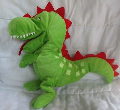 """IKEA LASKIG Dragon 12"""" Hand Puppet Green Red Plush Stuffed Toy Open Mouth"""