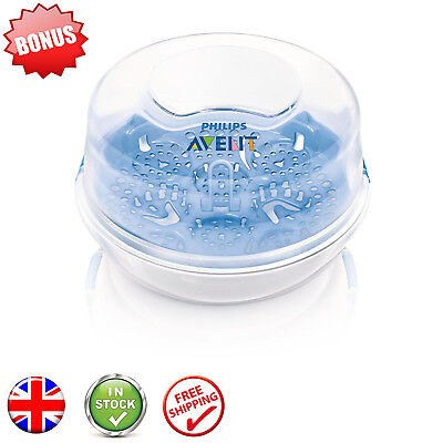 Baby Microwave Steam Bottle Steriliser BPA Free Philips AVENT Free Fast Postage