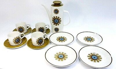 Vintage Retro J & G Meakin 13 Piece Coffee Pot Set Galaxy Pattern.