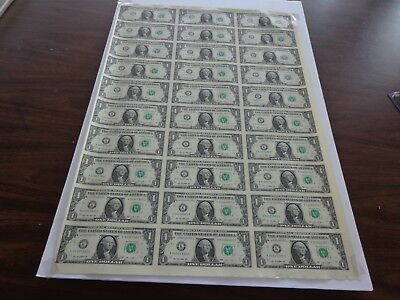 30 UNCUT SHEET $ 1 ($1 X 30) Legal USA 1 DOLLAR*Real Currency NOTES*RARE BILLS