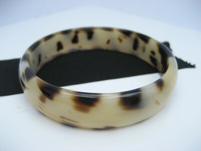 Beautiful Antique Vintage Chinese Bangle Cuff Bracelet Spotted Tortoise Agate