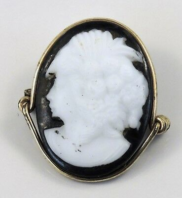 Antique Victorian Wire Wrap Carved Cameo C-Clasp Brooch Pin 86-06