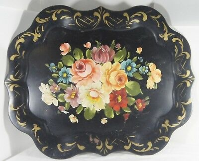 Vintage Hand Painted Tole Tray Scalloped Edge Flowers Black Floral 20 x 24
