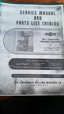 service manual and parts list catalog no.1 toolmakers milling machine