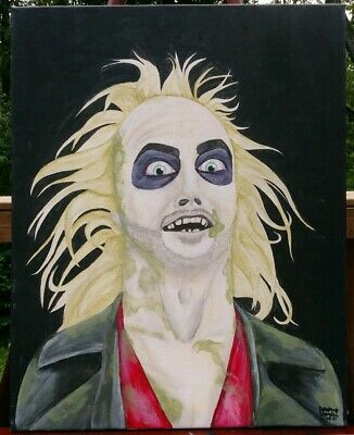 Original Acrylic and ink Beetlejuice fan art, on a 16x20 inch canvas