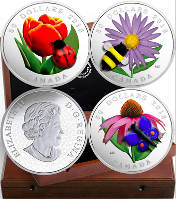 Ladybug2018 3Coins Set Murano Best 3 $50 5OZ Silver Proof Canada: Bee Butterfly