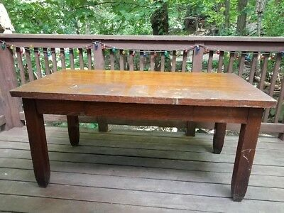 Solid quartersawn tiger oak table / desk - vintage possibly antique