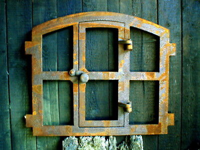 Iron Window with Door, Barn Window, Window Made of Iron, Antique, Country, New