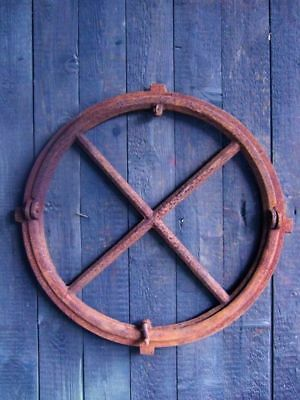 Iron Window, round Barn Window Made of Iron, Antique, Fold-Up, New