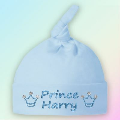 Prince Crown Embroidered Baby Knotted Hat Gift Personalised