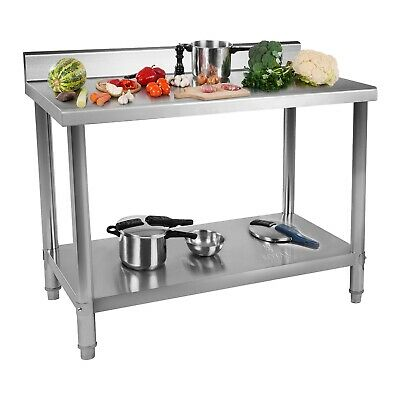 Stainless Steel Table Gastronomical Working Table Kitchen Table 120x60 Upstand