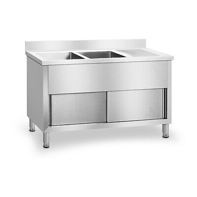 Sink Cabinet Double Kitchen Unit Stainless Steel Sliding Doors