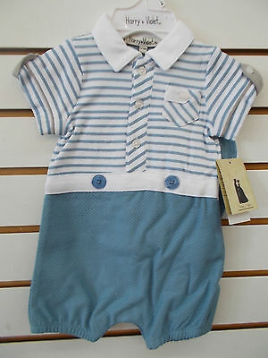 Infant Boys Harry /& Violet $38 3pc Light Blue /& Cream Outfit Size 0//3mo 6//9mo