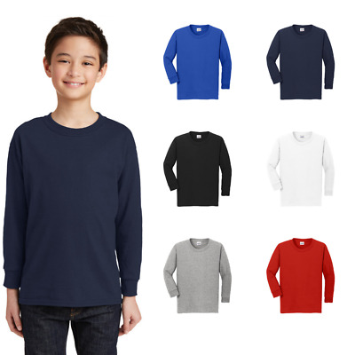 Gildan Youth Long Sleeve T-Shirt Heavy Cotton Tee 100% Cotton Boys Girls 5400B