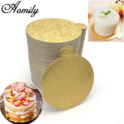 100pc Printing Round Mousse Cake Boards Paper Cupcake Dessert Displays Tray Gold