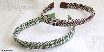 "2 New Multi Color Satin Cover Hard Headband 1/2 "" /2 Strand Zebra Animal Print E"