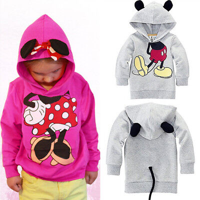 Kids Baby Girls Boys Ear Mickey Minnie Mouse Sweatshirt Tops Hoodie Jumper Coat