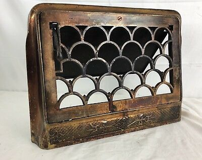 Antique Stamped Metal Wall Heat Grate Register Louvered Vent Gothic 12x7 CLEAN!
