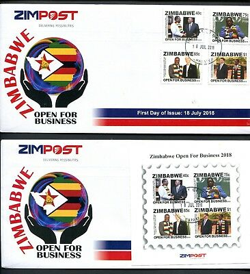 2018 new ZIMBABWE 2 x FIRST DAY COVERS - OPEN FOR BUSINESS - 18th JULY 2018