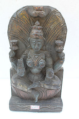 Antique Old Rare Wooden Hand Carved Hindu Goddess Saraswati Figure Statue NH2149