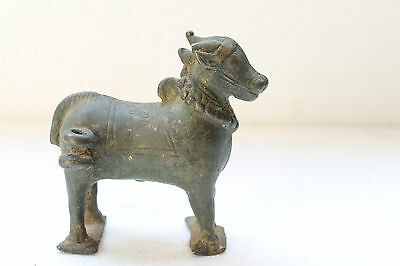 1850's Old Antique Hand Crafted Solid Brass Cow Ox Nandi Figure Statue NH2693