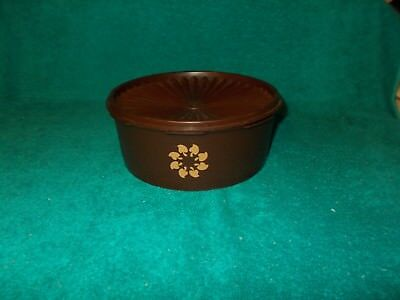 Vintage Tupperware Servalier Canister CHOCOLATE BROWN Container W/Lid 1204-14