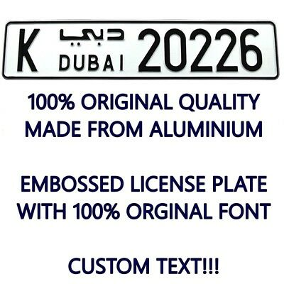 DUBAI Custom Personalized Your Text Car Number Plate Euro Arab License Plate