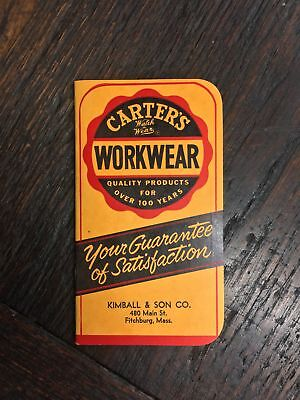 Vintage Old Carter's, WORKWEAR, Kimball & Son Co. Notebook, Notepad, Jeans