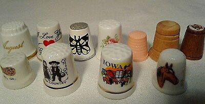 Lot/11 Porcelain/Wood/Plastic Thimbles Travel Floral Month and others Free Ship