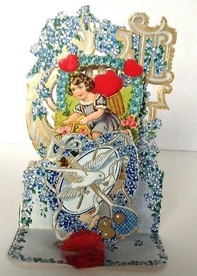 Valentine Die Cut Card Girl Honeycomb, Dove, Gilted Forget-me-Not 1920's