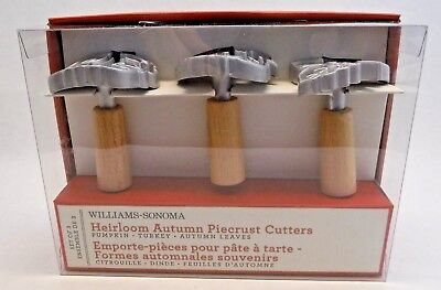 *3* Williams-Sonoma Heirloom AUTUMN PIECRUST CUTTERS Turkey Pumpkin Leaf