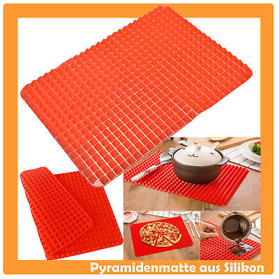 2x Pyramiden Noppen Backmatte Silikon Backpapier Grillmatte Backen Grill Pizza