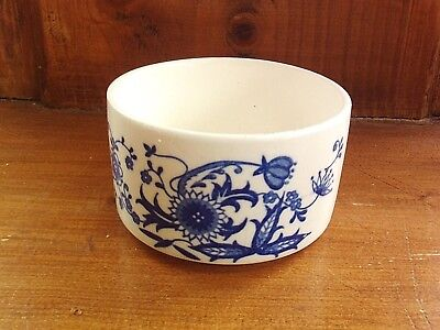 Blue and White sugar bowl, flow blue stylised floral, vintage china, pottery pot