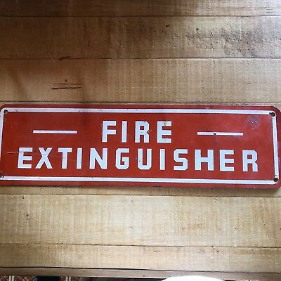 Red & White Metal Fire Extinguisher Sign; Exc. Condition for Shop or Man Cave!