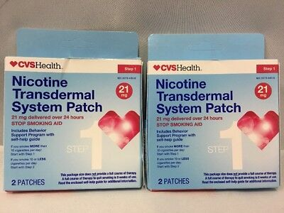 LOT OF 2 NICOTINE TRANSDERMAL SYSTEM STEP 1 PATCHES 4 TOTAL  21 mg EXP 09/2018