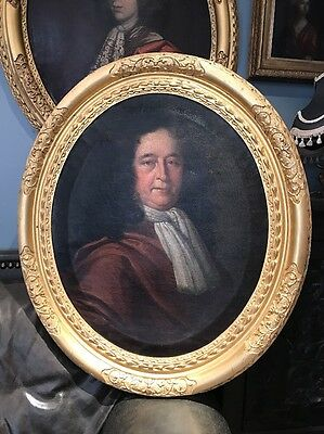 Large Antique 17th Century Oil Portrait Painting Of A Man In Wig Lely Frame