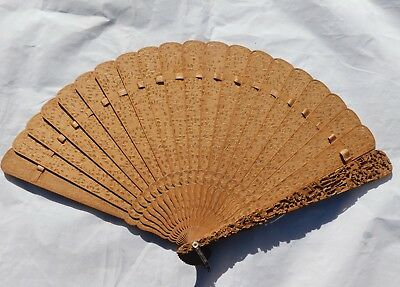 Antique Chinese hand fan sandalwood Hand Carved