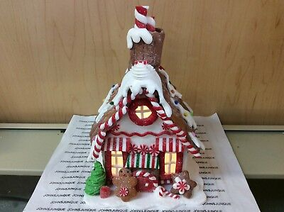 Gingerbread House With Red Door Kurt Adler Lights Led New With Tags